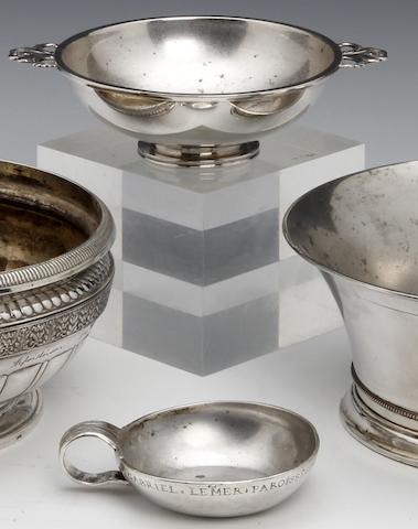 A French silver presentation wine taster by PE, untraced, Orleans, circa 1780  (2)