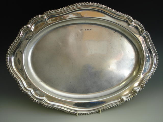 A silver shaped oval platter by BP and Co., Birmingham 1966