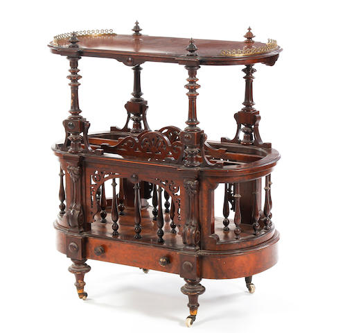 A mid-Victorian figured walnut Canterbury whatnot