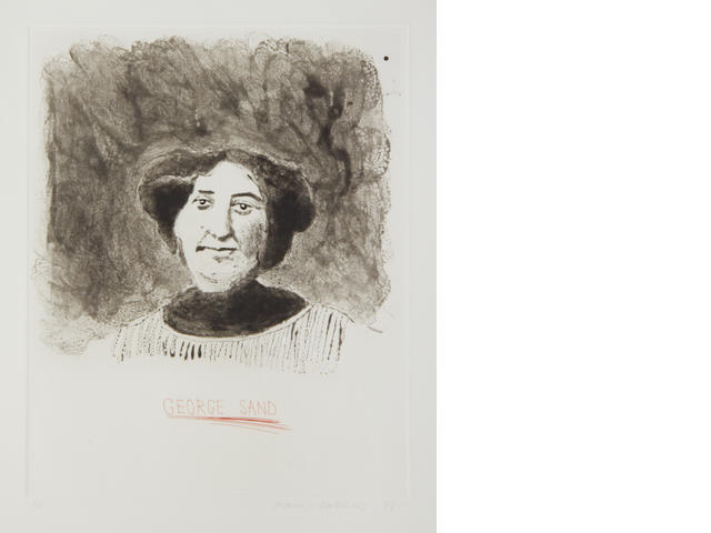 David Hockney R.A. (British, born 1937) Portrait of George Sand Etching with aquatint, 1973, printed in red and black, on Crisbrook handmade paper, printed by Maurice Payne in London, published by Petersburg Press, signed, dated and numbered 3/25 in pencil, 375 x 300mm (14 3/4 x 11 3/4in)(PL)
