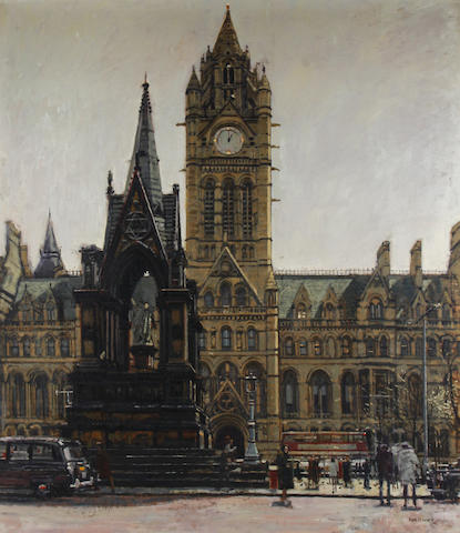 Ken Howard R.A. (British, born 1932) The Albert Memorial and Manchester Town Hall