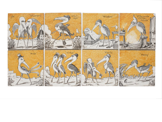 Henry Stacey Marks for Minton A Set of Eight Comical Bird Tiles, circa 1875