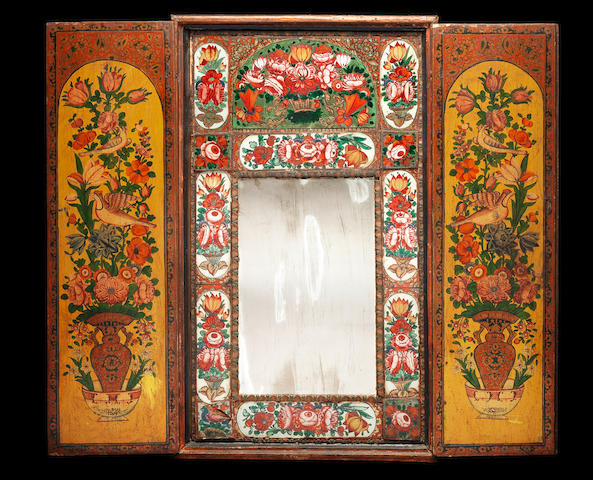 A Qajar reverse-painted Mirror Cabinet Persia, 19th Century