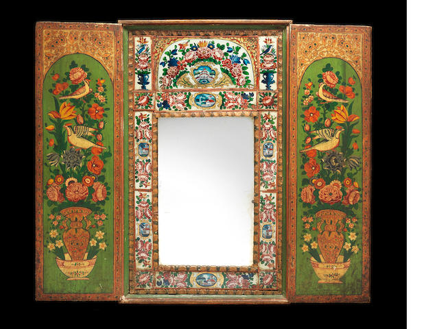 A Qajar reverse-glass painted Mirror Cabinet Persia, 19th Century