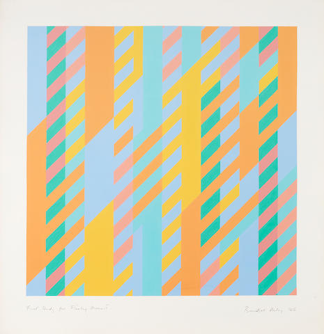 Bridget Riley (British, born 1931) First Study for Fleeting Moment 66 x 64 cm. (28 x 25 1/4 in.) the full sheet