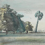 Paul Nash (British, 1889-1946) In Andrew's Fields, No.1 28 x 40 cm. (11 x 15 3/4 in.)