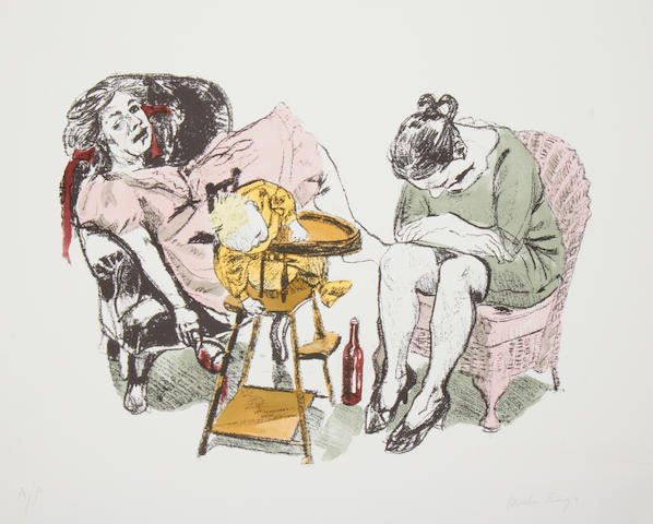 Paula Rego (British, born 1935) Feeding Time, from O Vinho (Wine) Lithograph printed in colours, 2007, on Somerset satin, signed and inscribed 'A/P' in pencil, an artist's proof aside from the numbered edition of 35, published by Marlborough Graphics, London, printed by the Royal College of Art, London, 468 x 590mm (18 3/8 x 23 1/4in)(SH)(unframed)