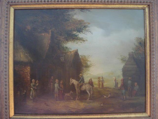 Dutch School, 19th Century Boy sitting on a horse within a village,