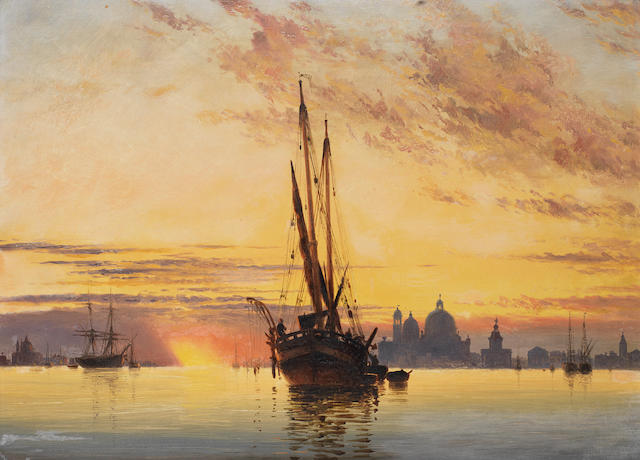 Edward William Cooke, RA (British, 1811-1880) Sunset, Venice, Santa Maria della Salute in the distance