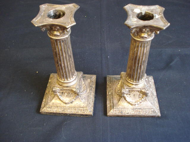 A pair of silver Corinthian column candlesticks, London 1892,  (2)