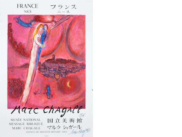 After Marc Chagall (Russian/French, 1887-1985) Le Cantique des Cantiques Lithographic poster, printed in colours, by Charles Sorlier, on thin wove, signed and dated 1976 by Marc Chagall in blue felt tip pen, one of a number of signed copies presented to the Society of friends of the Musée National Message Biblique, printed by Mourlot, published by Editions des Amis du Musée National Message Biblique Marc Chagall, Nice, with their blindstamp, 760 x 515mm (29 7/8 x 20 1/4in)(SH)  (unframed) unframed