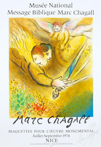 After Marc Chagall (Russian/French, 1887-1985) L'ange du Jugement Lithographic poster in colours by Charles Sorlier, on thin wove, signed and dated 1976 by Marc Chagall in black ballpoint pen, one of a number of signed copies presented to the Society of Friends of the Musee National Message Biblique, printed by Mourlot, published by Editions Societe des Amis du Musee National Message Biblique Marc Chagall, Nice, with their blindstamp; 760 x 510mm (29 7/8 x 20in)(SH)
