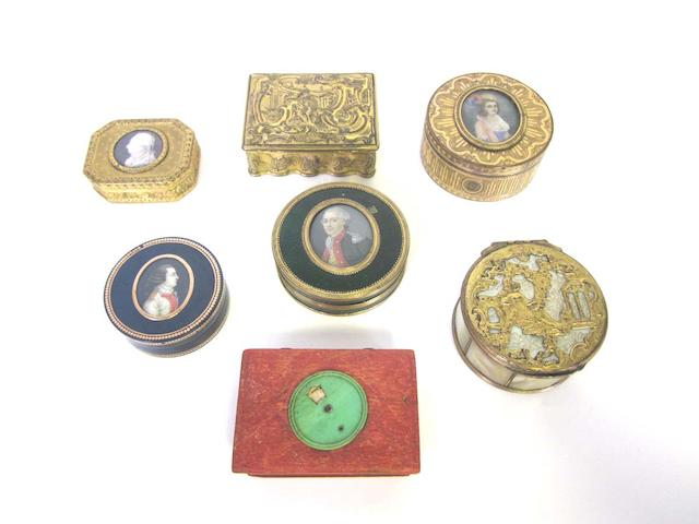 A 19th century blue bois d'Urci and gold inlaid portrait box