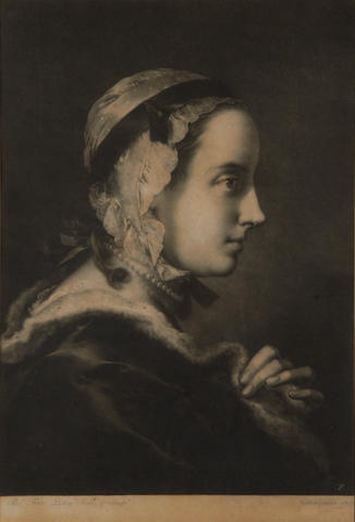 Thomas Frye (Dublin 1710-1762 London) Two mezzotints from Life-sized Heads  'Young Woman in profile with cap and necklace' and 'Man in turban with both hands leaning on a book', from the first series, 1760, on laid, with trimmed margins, with the printed inscription below 'T.Frye. Pictor Invt & Sculp. Hatton Garden 1760', 505 x 350mm (19 7/8 x 13 3/4in)(PL)(2)