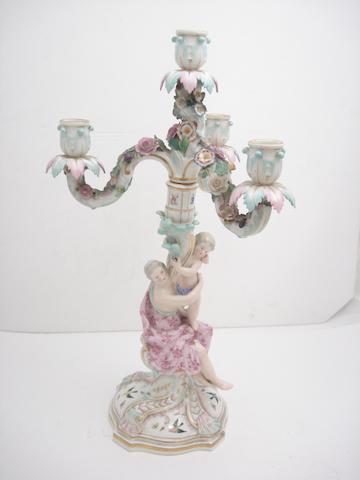 A Meissen figural candelabra Circa 1860-70