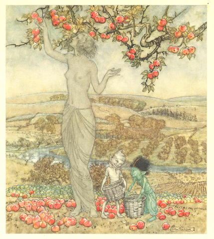 A Dish of Apples by Eden Phillpotts, pubd Hodder & Stoughton 1921, no 246 of 500 copies, signed by Arthur Rackham