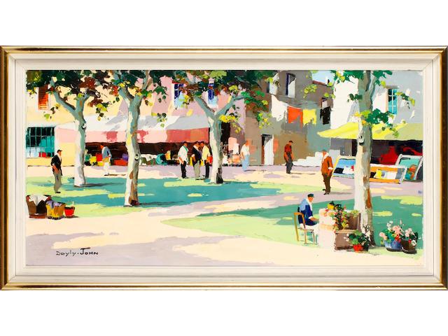 D'Oyly John (British, 1906-1993) Flower market at Cannes