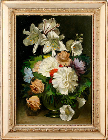 20th Century School Lilies and peonies in a vase