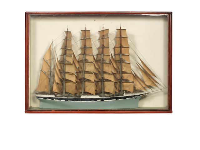 A waterline model of 5 mast Barque Elvira  36x25x6.5ins. (92x64x17cm)
