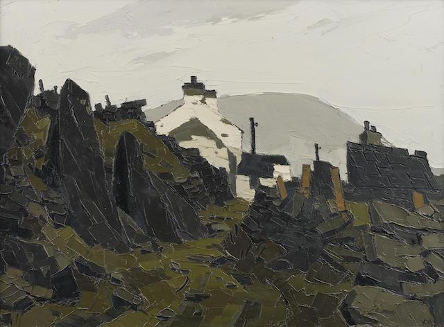 Sir Kyffin Williams R.A. (British, 1918-2006) Welsh farm buildings 50.7 x 68.6 cm. (20 x 27 in.)