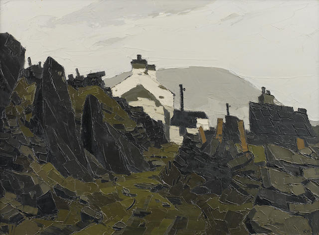 Sir Kyffin Williams R.A. (British, 1918-2006) Farm buildings set in landscape 50.7 x 68.6 cm. (20 x 27 in.)