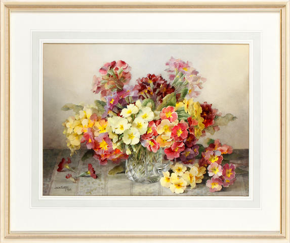 Jack Carter (British) Still life with primroses in a cut glass tankard
