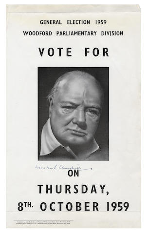 CHURCHILL (WINSTON) Collection of letters and a signed poster-portrait relating to his Woodford constituency