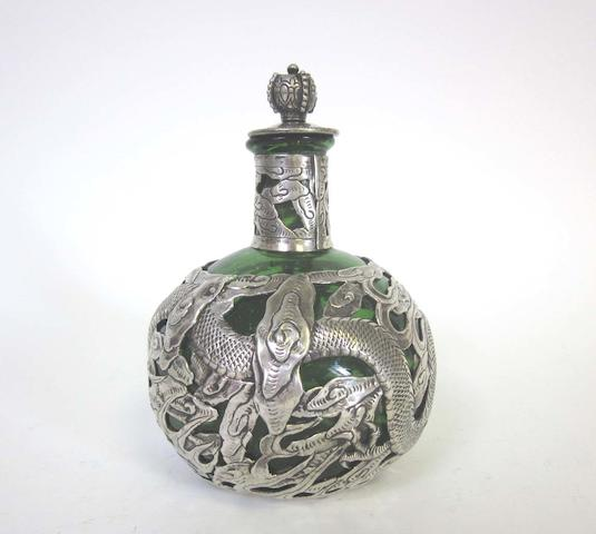 A late 19th/early 20th century Chinese export silver mounted glass scent bottle by Wang Hing, also stamped '90' with character mark, circa 1900
