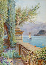 Ernest Arthur Rowe (British, 1863-1922) Over the balustrade - Villa Carlotta, Tremezzo, Lake Como