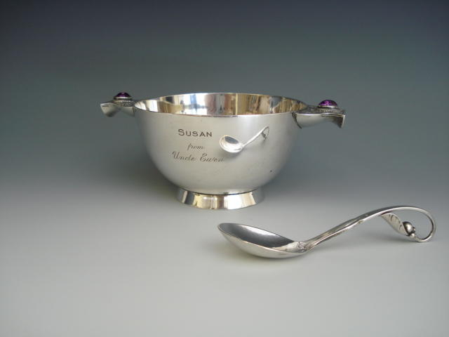 A silver Celtic porringer by Goldsmiths and Silversmiths Co., London 1929