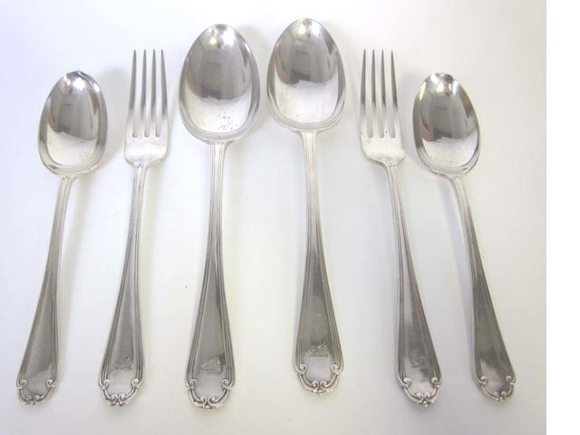 A silver part table service of flatware by Mappin & Webb, Sheffield 1929, 1931 and 1932  (18)