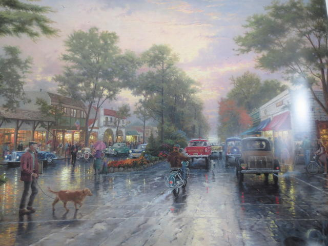 Thomas Kinkade (American, born 1958) Carmel, Sunset on Ocean Avenue along with 4 prints by the same hand; 'Gardens Beyond Spring Gate', 'Evening Majesty', 'Conquering Storms' and 'Cobblestone Bridge'.