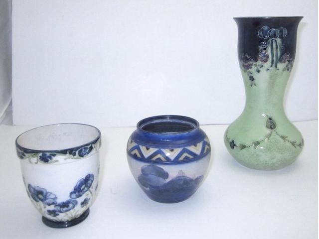 Three pieces of William Moorcroft pottery
