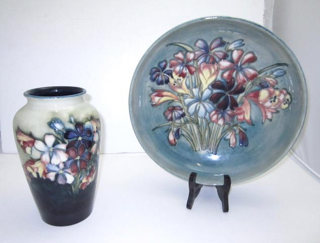 A Walter Moorcroft 'Spring Flowers' bowl and vase
