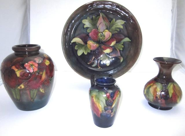 A collection of Walter Moorcroft flambé glaze pottery