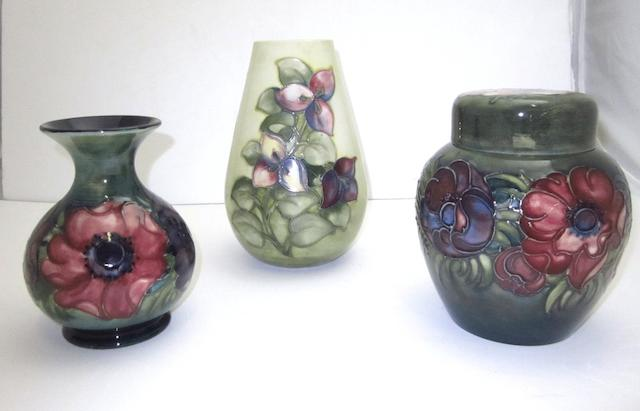 Three pieces of Walter Moorcroft pottery