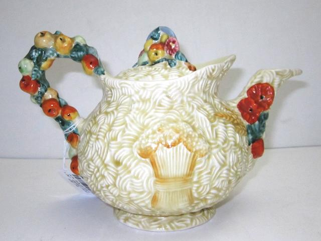 A Clarice Cliff 'Harvest' tea pot