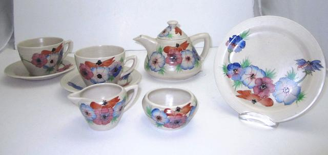 A Clarice Cliff tea set for two