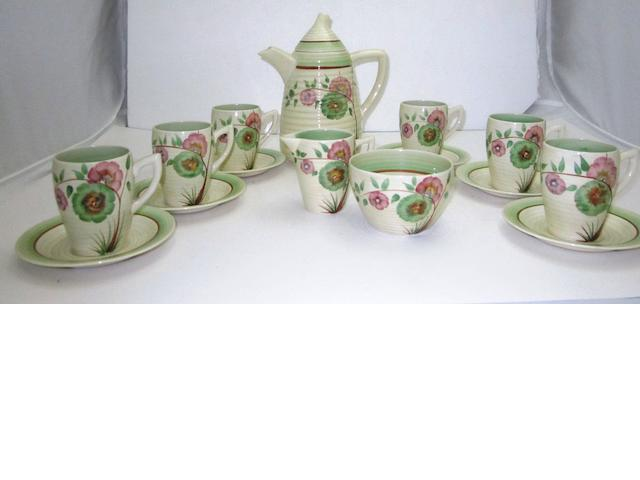 A Clarice Cliff 'Honeydew' Lynton coffee set