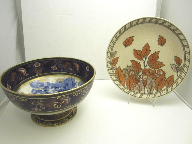 A Doulton Burslem punch bowl and a Charlotte Rhead charger