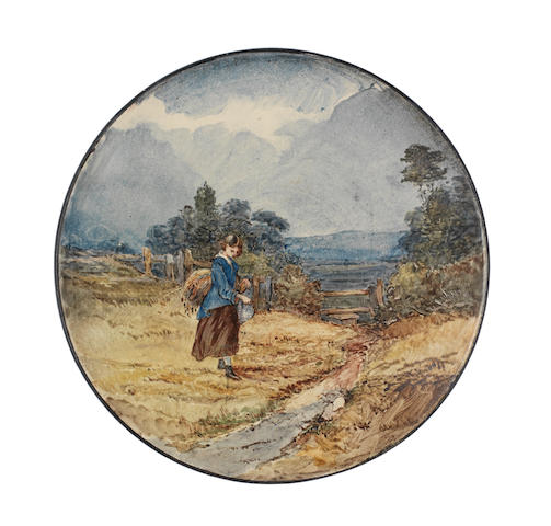 An Esther Lewis faience plate