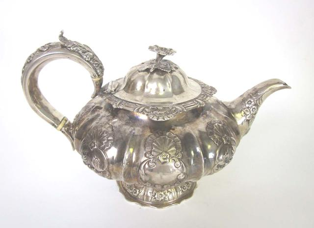 A William IV silver teapot by Jonathan Haynes, London 1832  (3)