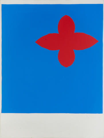 Sandra Blow (1925-2006) Red and Blue Screenprint in colours, 1984, on wove, signed, dated and numbered 9/30 in blue ink, with full margins, 750 x 560mm (29 1/2 x 22in) (SH)