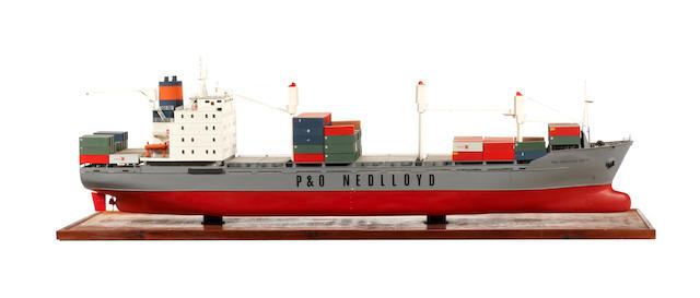 A model of the container ship P&O Nedlloyd Dubai 48.5x13.5x15ins. (123x34x38cm)