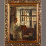 English School, 20th Century  Portrait of a lady in an interior, drawing by a window