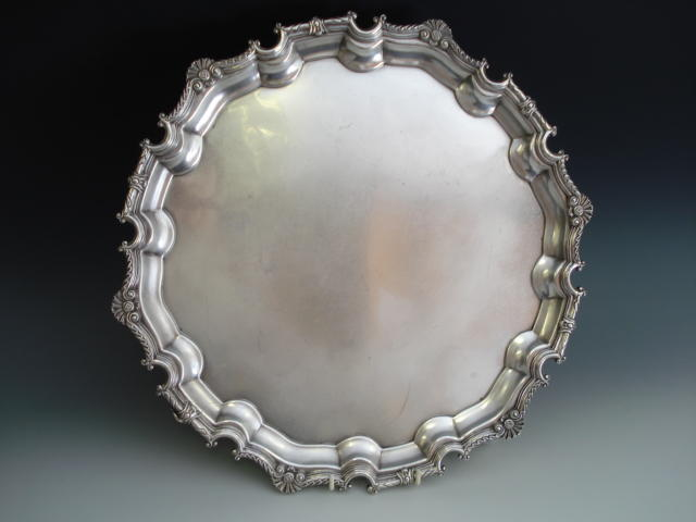 A silver circular salver by Roberts and Belk, Sheffield 1979