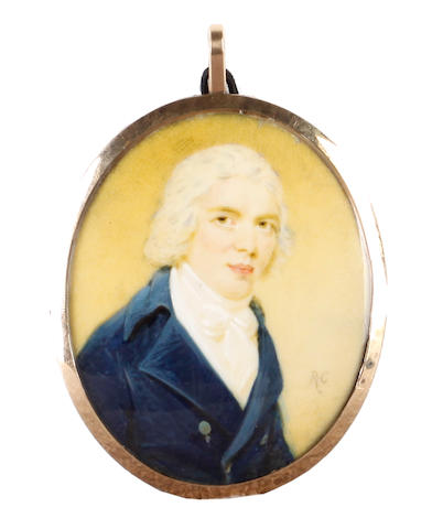 Edward Miles (British, 1752-1828) A Gentleman, wearing blue coat, white chemise stock and cravat, his hair powdered
