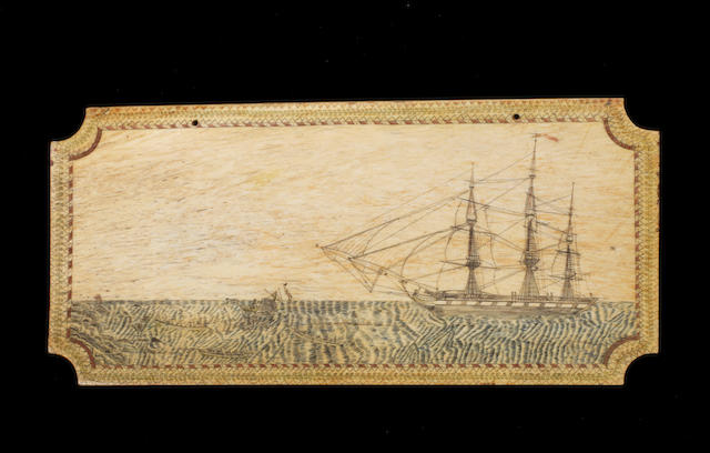 A large Scrimshaw decorated Panbone. 8x17.3ins. (20x44cm)
