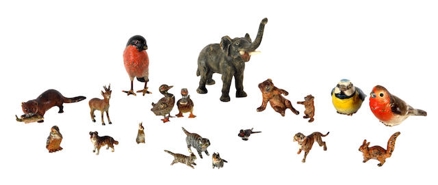 A collection of nineteen various small cold painted bronze animals
