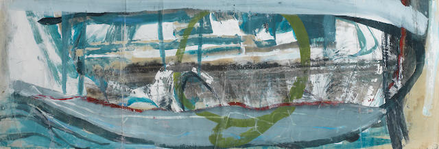 Peter Lanyon (British, 1918-1964) The dying boat themed marine study 25 x 75.7 cm. ( 10 x 29 7/8 in.)